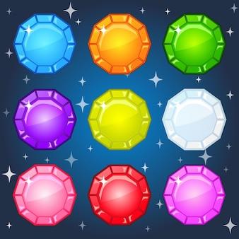 Círculo de forma colorida de joias para 3 jogos