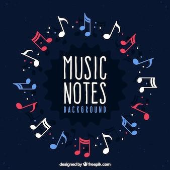 Círculo de fundo feito de notas musicais