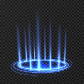 Círculo de giro de energia com raios brilhantes azuis.