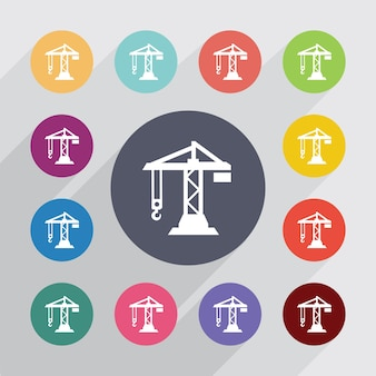 Círculo de guindaste de construção, conjunto de ícones planas. botões coloridos redondos. vetor
