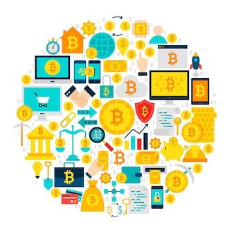 Círculo de ícones bitcoin. ilustração em vetor de objetos lisos de criptomoeda isolados sobre o branco.