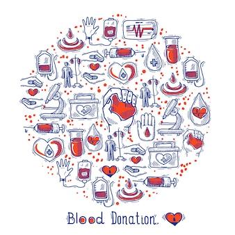 Círculo de ícones de doador