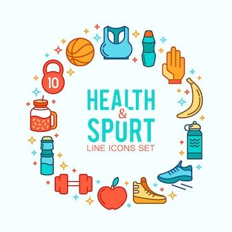 Círculo de ícones de esportes. conceito de esporte, plano de fundo. ícones de jogos esportivos.