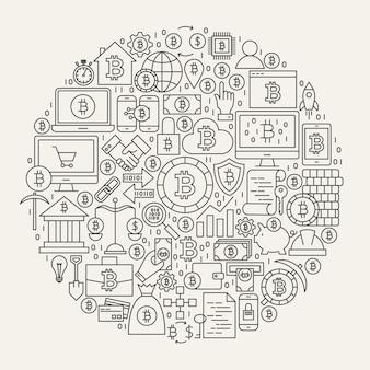 Círculo de ícones de linha bitcoin. ilustração em vetor de objetos de contorno de criptomoeda.