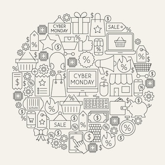 Círculo de ícones de linha cyber segunda-feira. ilustração em vetor de objetos de contorno de venda de compras.