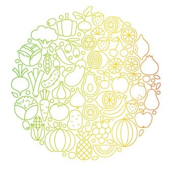 Círculo de ícones de linha de vegetais de frutas. objetos de comida vegetariana saudável de ilustração vetorial.
