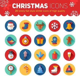 Círculo de ícones de natal e ano novo ajustados com santa, cervo, boneco de neve