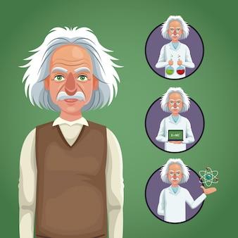 Círculo de ícones físicos de cientistas de personagem
