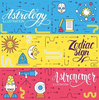 Círculo de ilustração de desenho de ícones de casas de astrologia