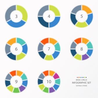 Círculo de infográfico definido com tons coloridos. processo ou etapas.