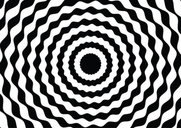 Círculo de linha de onda preto e branco ilusão de ótica