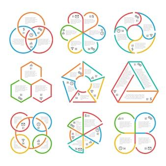 Círculo de linha grossa cor, diagramas de contorno de negócios triangular, hexagonal, pentagonal infográficos diag