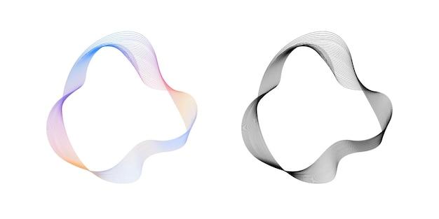 Círculo de linhas onduladas fluidas abstratas com gradiente de arco-íris e vecto redondo de cor preta