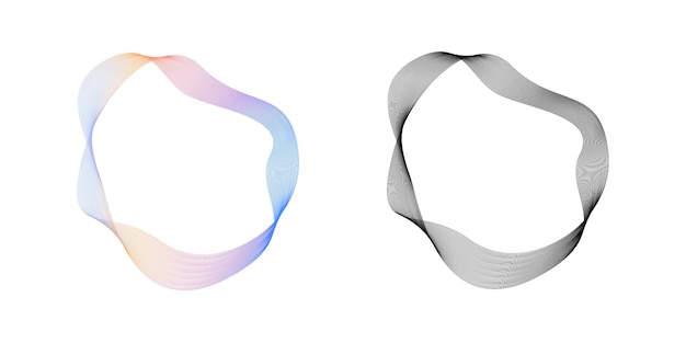 Círculo de linhas onduladas fluidas abstratas com gradiente de arco-íris e vetor loopable de cor preta