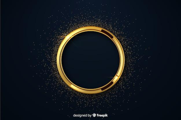 Círculo de luxo dourado com fundo de brilhos
