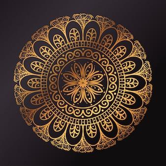 Círculo de mandala dourada em fundo escuro, mandala de luxo vintage, decoração ornamental