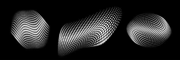 Círculo de meio-tom branco pontos curvos textura gradiente fundo logotipo 3d curva emblema pontilhada vetor