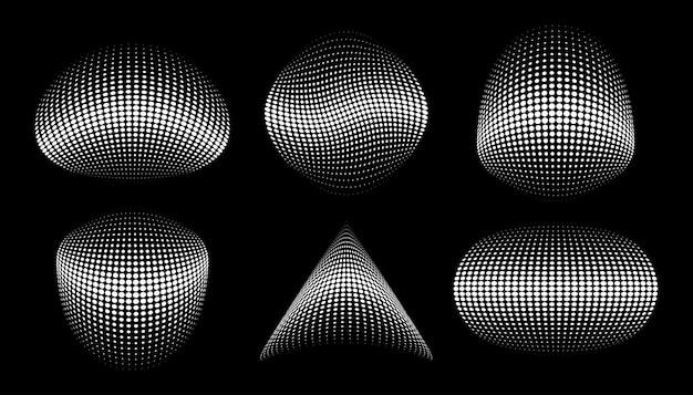 Círculo de meio-tom branco pontos esfera 3d elemento de design de logotipo para vetor cosmético de tratamento médico