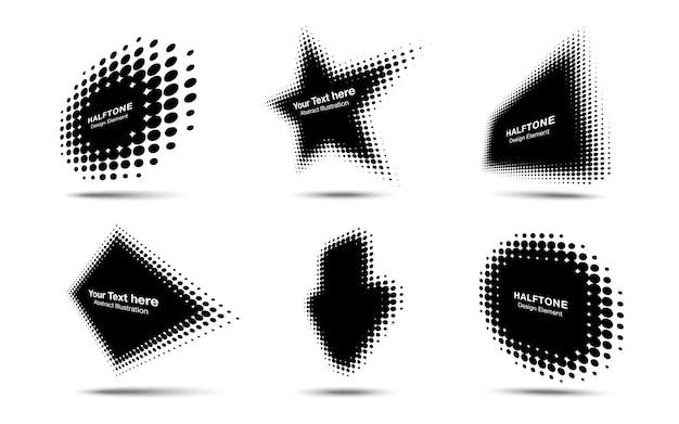 Círculo de meio-tom pontos perspectiva logotipo emblema elemento de design ilustração vetorial
