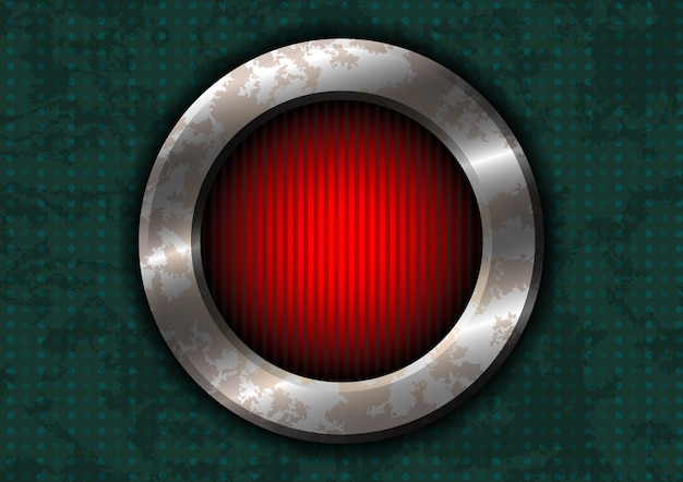 Círculo de metal enferrujado com lâmpada vermelha