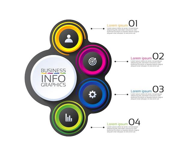 Círculo de modelo de infográfico de apresentação de negócios colorido com quatro etapas