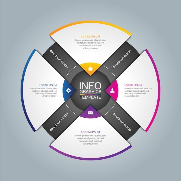 Círculo de modelo de infográfico de apresentação de negócios com 4 etapas