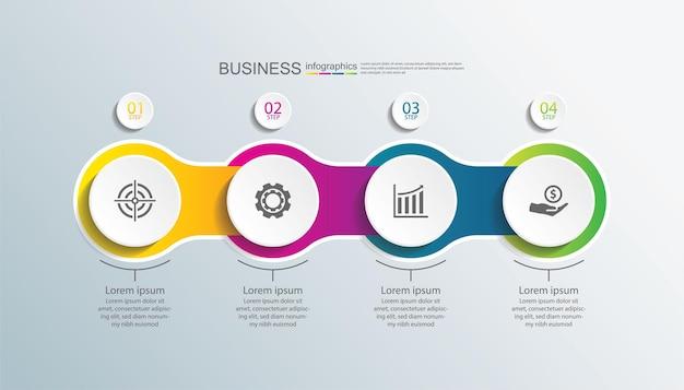 Círculo de modelo de infográfico de apresentação de negócios com quatro etapas