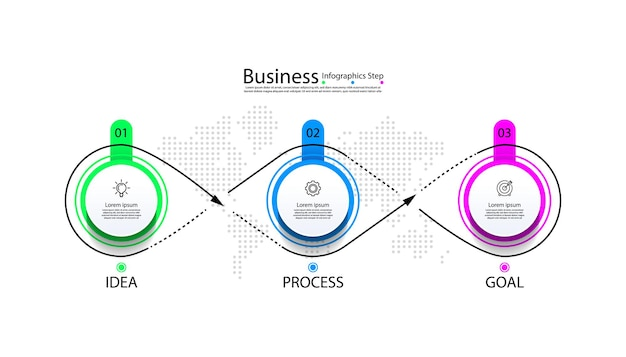 Círculo de modelo de infográfico de negócios colorido com três etapas