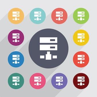 Círculo de movimentação líquido, conjunto de ícones planas. botões coloridos redondos. vetor