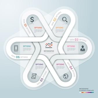 Círculo de negócios estilo de origami de infográficos.