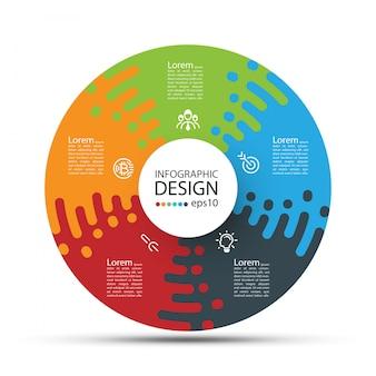 Círculo de negócios rótulos forma barra de grupos de infográfico.