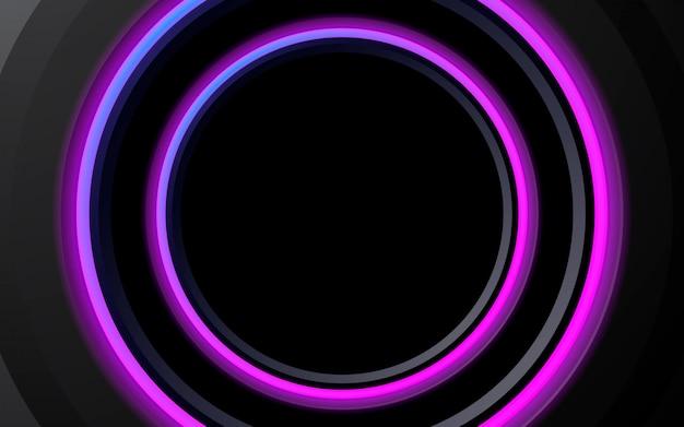 Círculo de néon abstrato de fundo roxo luminoso