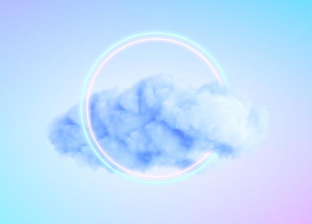 Círculo de néon brilhante com nuvem azul
