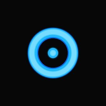 Círculo de néon brilhante com ponto no modelo do logotipo do meio