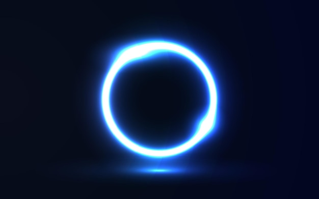 Círculo de néon brilhante em fundo escuro
