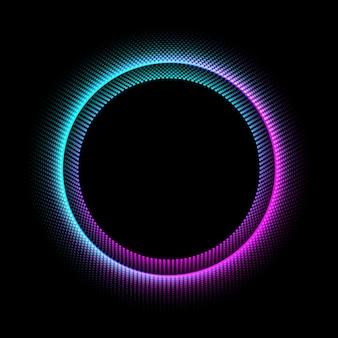 Círculo de néon com efeito da luz dos pontos no fundo preto.
