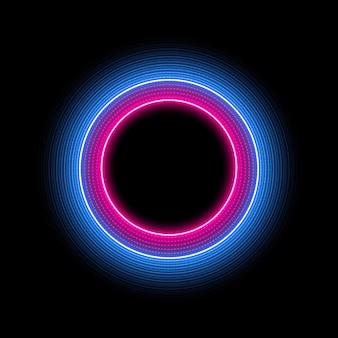 Círculo de néon com efeito de luz. moldura redonda moderna com espaço vazio