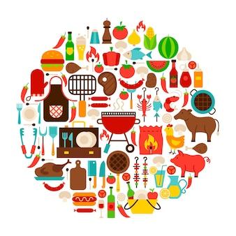 Círculo de objetos lisos da churrasqueira. ilustração em vetor de símbolos de festa para churrasco.
