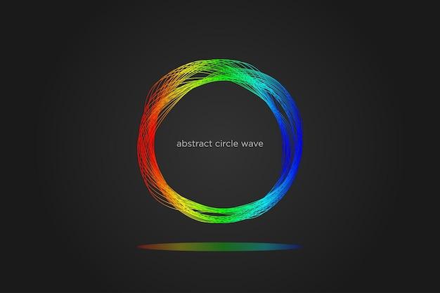 Círculo de ondas abstratas linhas dinâmicas e coloridas de fundo para a tecnologia de festa de música moderna