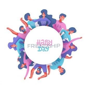 Círculo de personagens de amigos como um símbolo do dia internacional da amizade