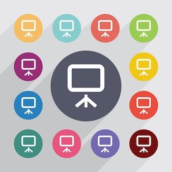 Círculo de placa, conjunto de ícones planas. botões coloridos redondos. vetor