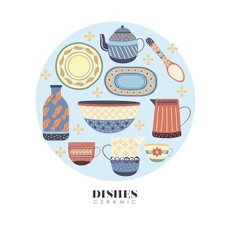 Círculo de pratos de porcelana de louça