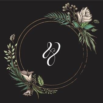 Círculo de quadro de título de casamento