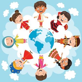 Círculo de raças diferentes de crianças felizes