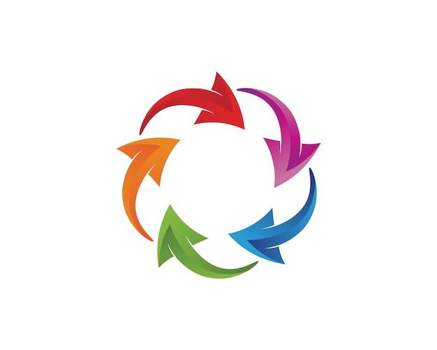 Círculo de setas coloridas arredondado ícone logotipo