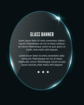 Círculo de vidro realista, banner oval