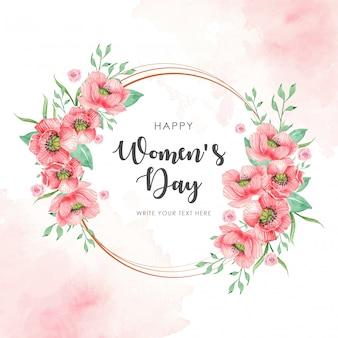 Círculo do dia da mulher com cartão de flores em aquarela