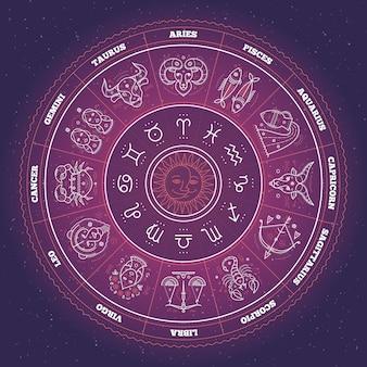 Círculo do zodíaco com signos do horóscopo. linha fina . símbolos de astrologia e sinais místicos.