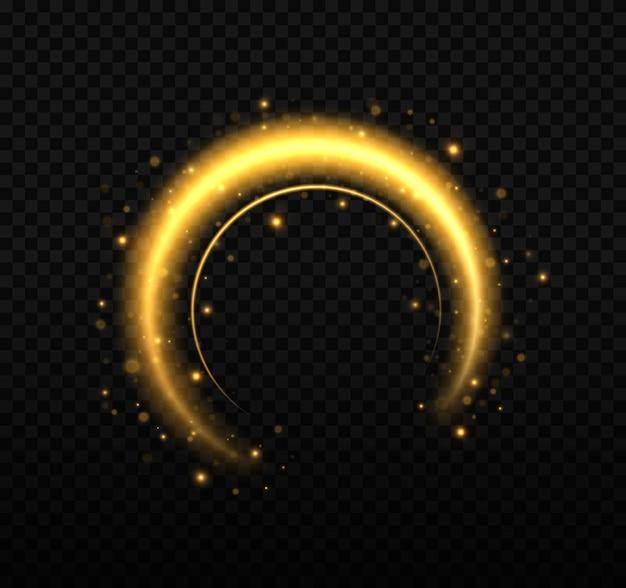 Círculo dourado brilhante com partículas de pó de ouro e estrelas