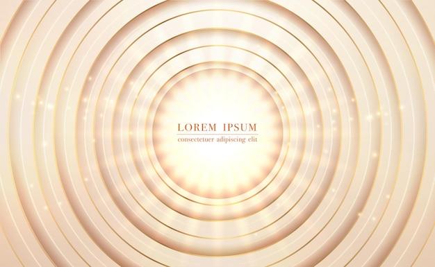 Círculo dourado com fundo abstrato brilhante claro